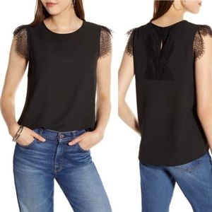NWT Halogen Lace Trim Keyhole Back Top